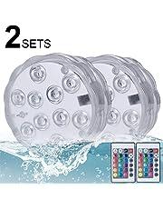 Lumiere Piscine, Kolpop Lumière submersible de RGB LED Multicouleur avec Télécommande, IP68 Imperméable à l'eau pour La piscine/étang / Aquarium/Vase et Salle de Bains