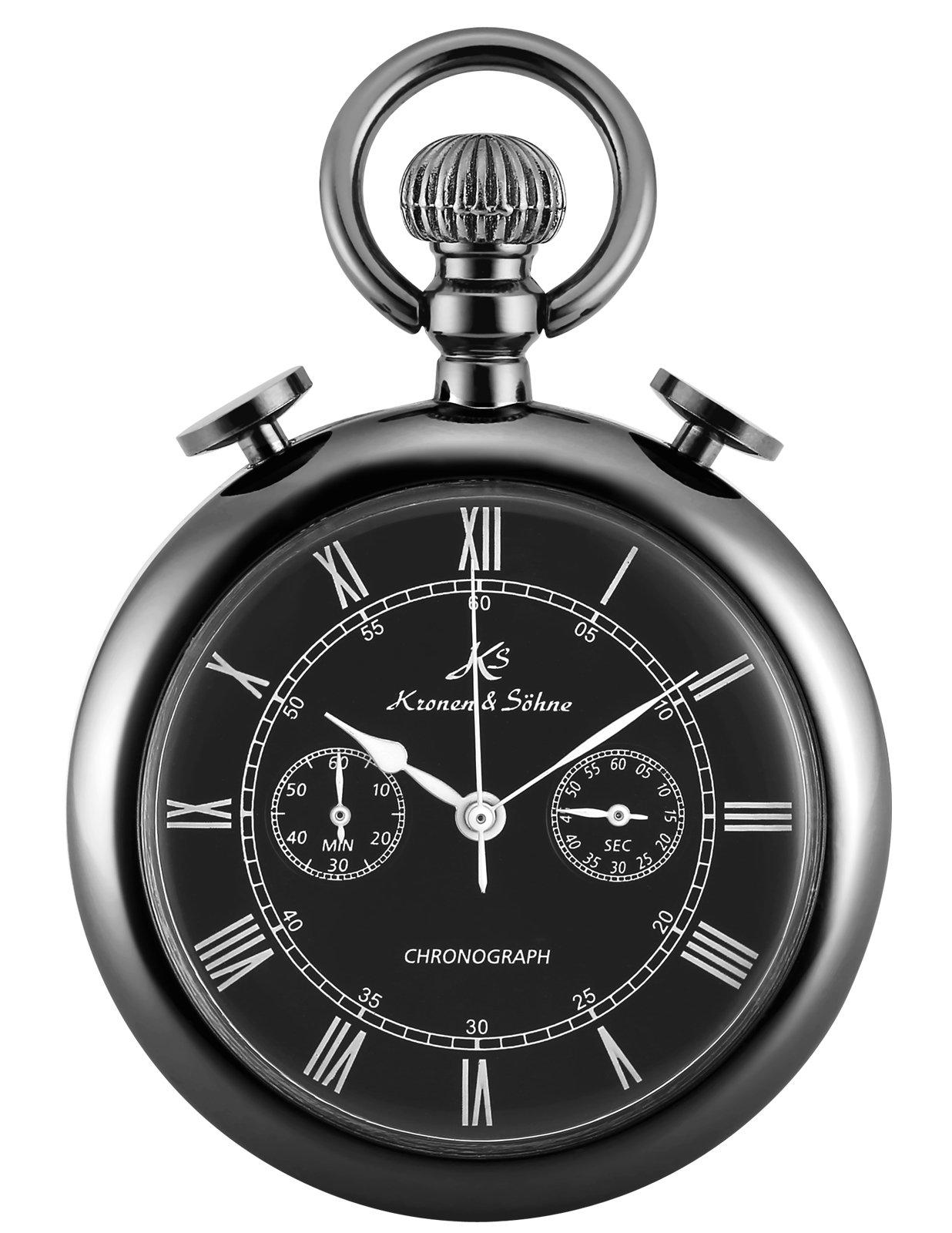 KS Classic Roman Numerals Markers Chronograph Function Quartz Pocket Watch KSP093