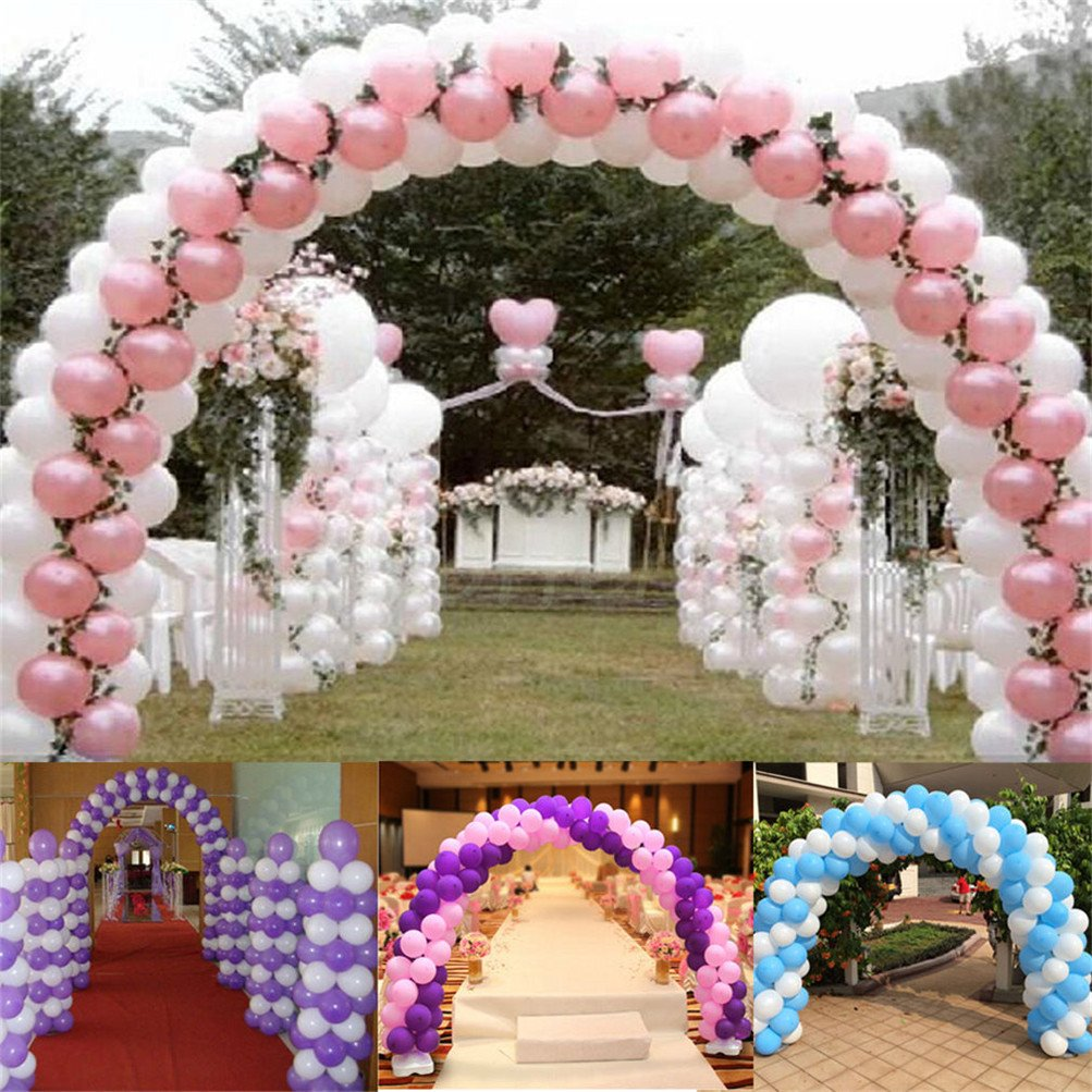 UNHO Balloon Arch Kit Plastic Balloon Column Stand Gate for Wedding Party Event Decoration, 13Ft Tall & 16Ft Wide, with Water Fillable Base Stand 100Pcs Buckles by UNHO (Image #6)