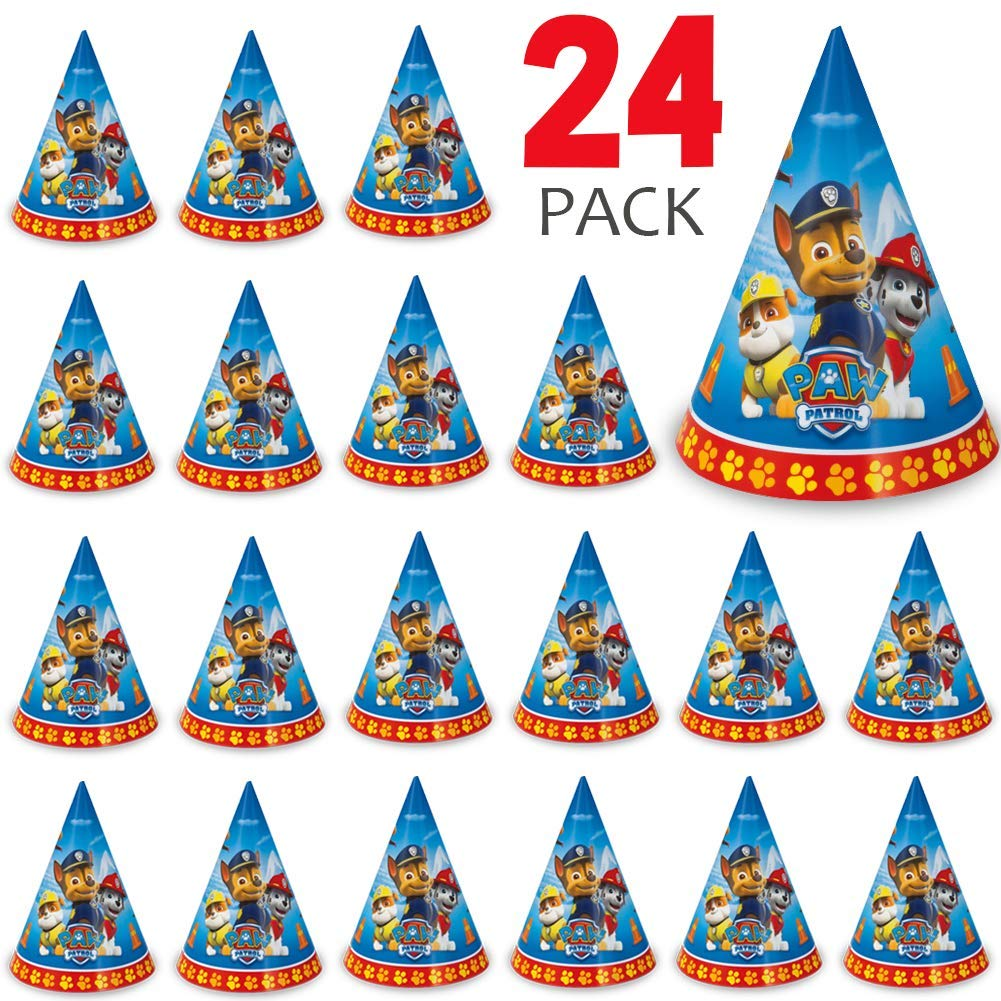 24 Paw Patrol Party Hats Perfect for Birthday Party, Kids/Boys & Girls Events, Birthday Party Supplies, Measures 8'' W x 8.5'' H