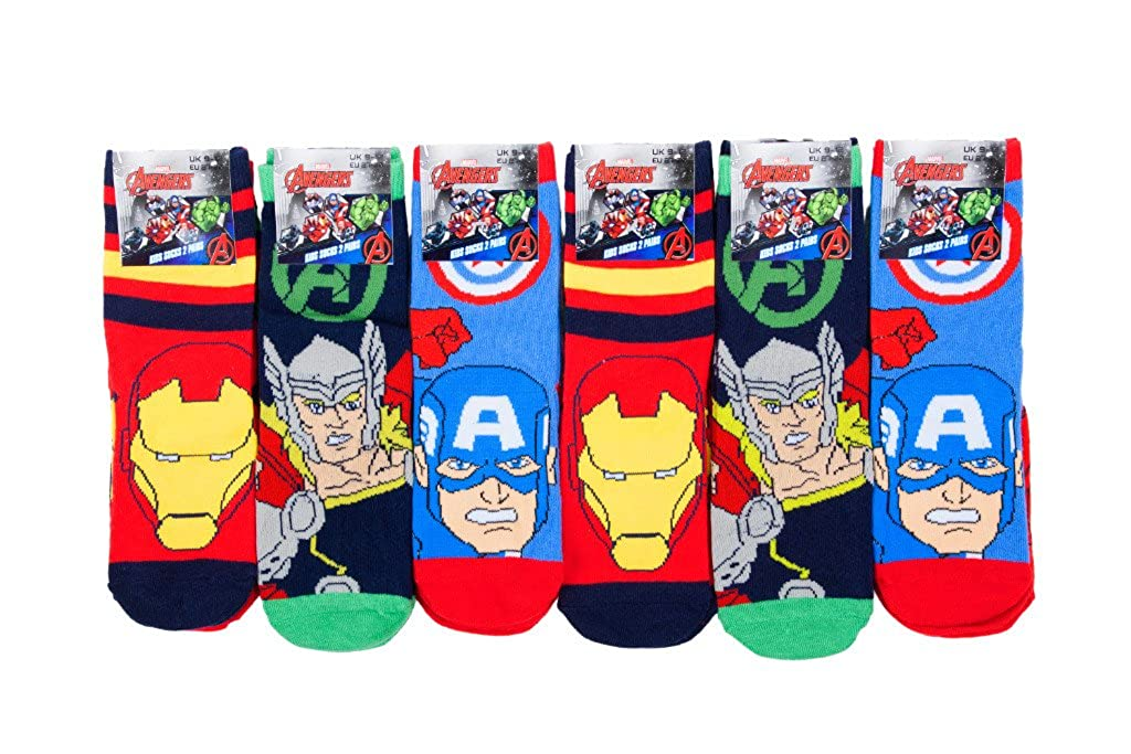 Louise23 Boys 6pairs Avengers Iron Man Thor Hulk Design Socks Kids School Fun Novelty Socks