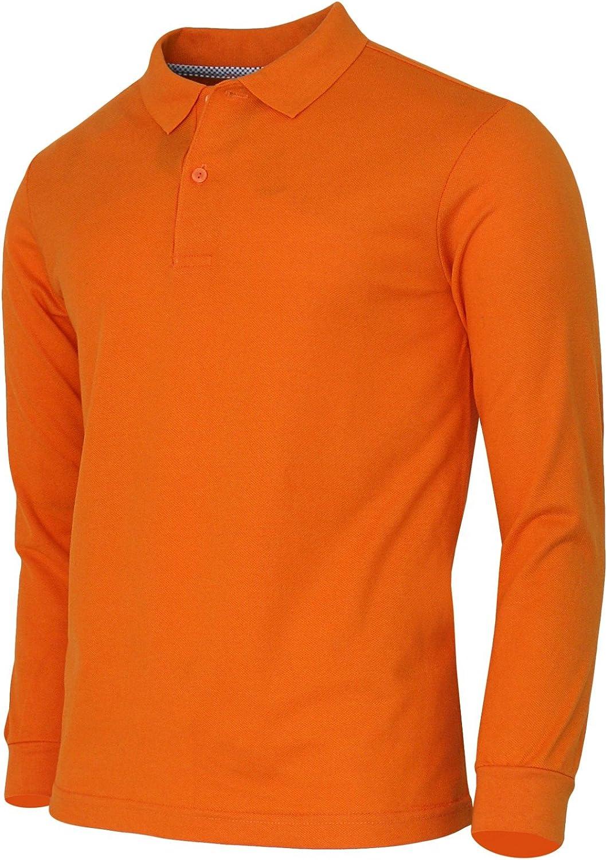 BCPOLO Men's Polo Shirt Cotton Pique Polo Shirt Long Sleeve Polo Shirt: Clothing