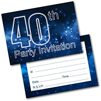 Doodlecards 40th Birthday Party Invitations Male Invites Pack Of 20 Postcards And Envelopes