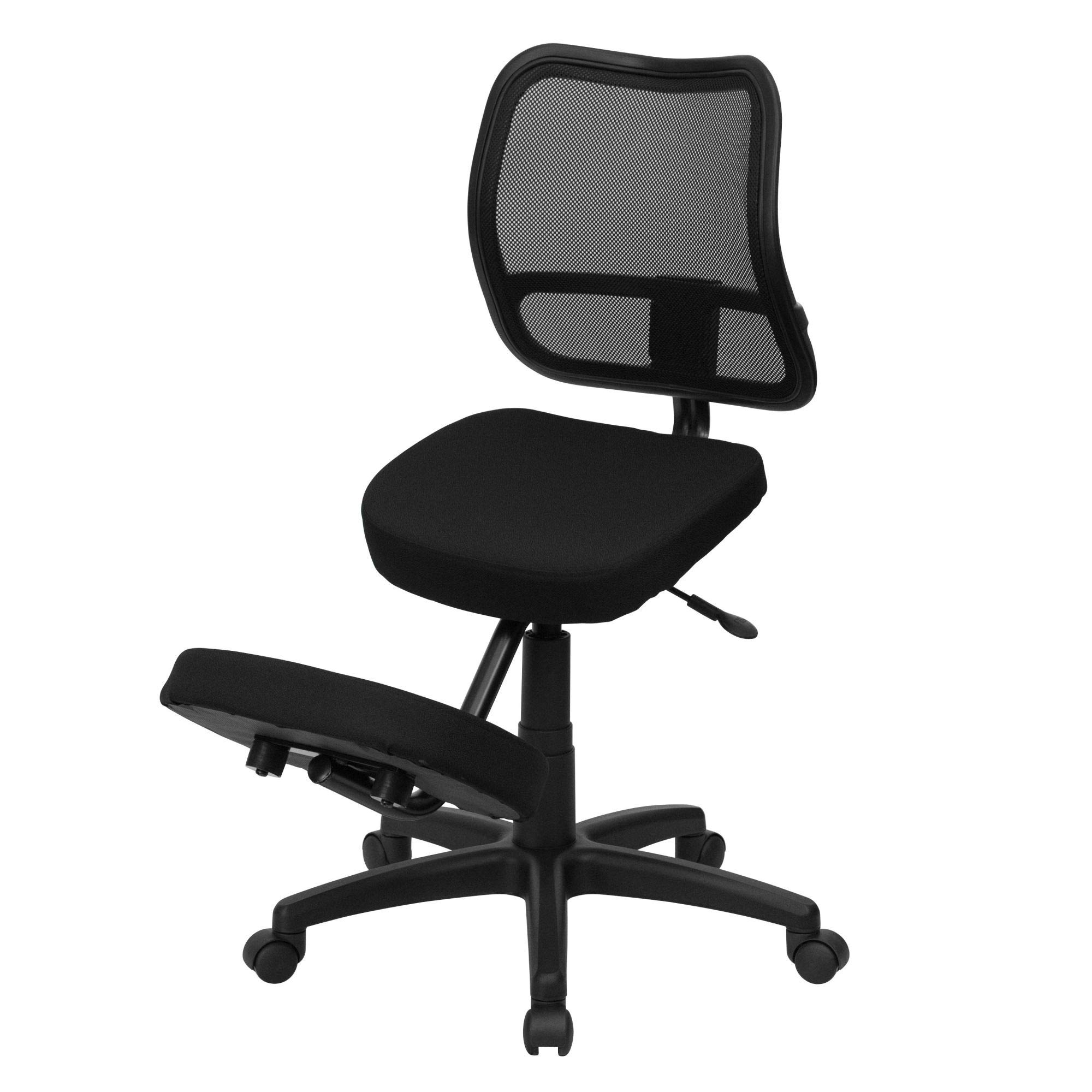 Delacora WL-3425-GG 24.5 Inch Wide Fabric Kneeling Swivel Task Chair with Mesh Back