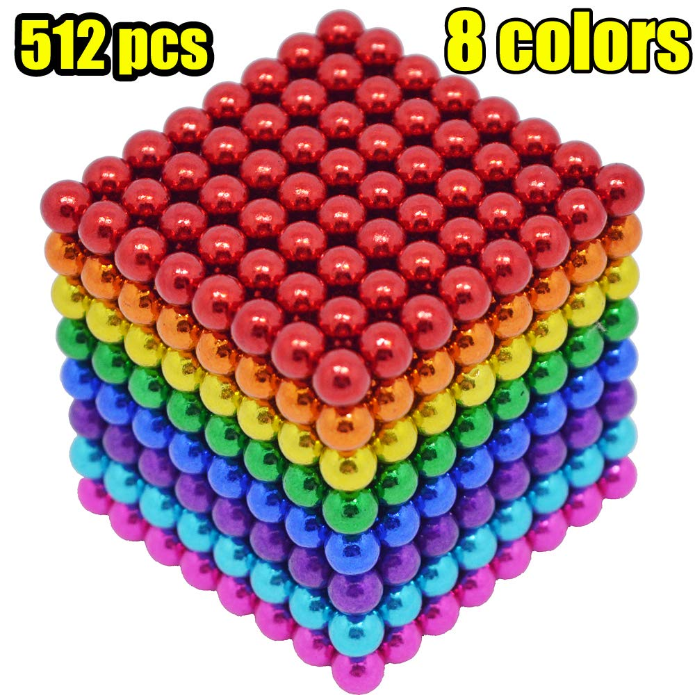 MENGDUO 512pcs 5mm Magnetic Cube Magnets Sculpture Building Blocks Toys for Intelligence Learning -Office Toy & Stress Relief for Adults (8 Colors)