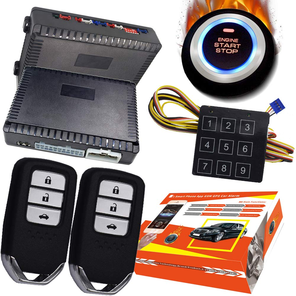 KUNFINE Inteligente Seguridad Coche Alarma Pasivo Sin Claves ...