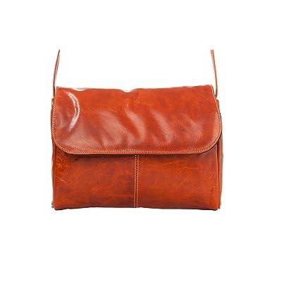 David King Florentine Flap Front Leather Handbag in Honey