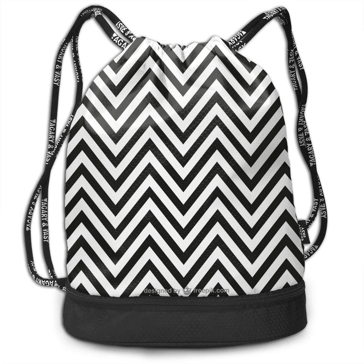 Zol1Q Lightweight Waterproof Large Storage Drawstring Bag for Men /& Women Black Wave Cinch Backpack Sackpack Tote Sack