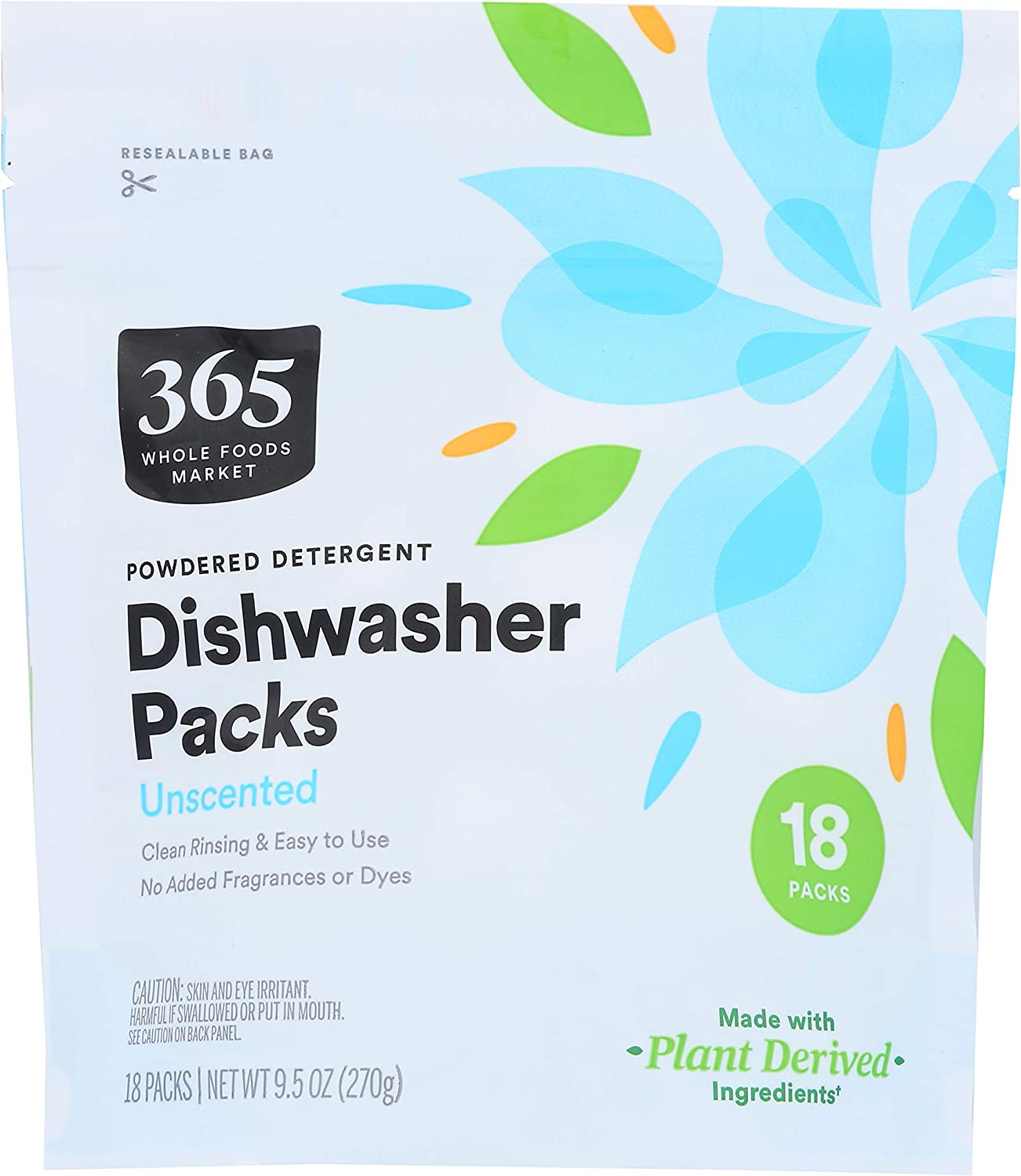 365 by Whole Foods Market, Dishwasher Powdered Detergent Packs, Unscented, 18 Count