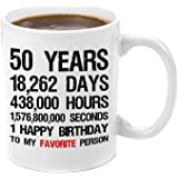 50th Birthday Gift | Premium 11oz Coffee Mug Gift Set - 50th Birthday Decorations, Party, Supplies, Gifts for Men, Women, Grandma, Grandpa, Happy, Boy, Presents, Best, Perfect, Good, Funny, Personal