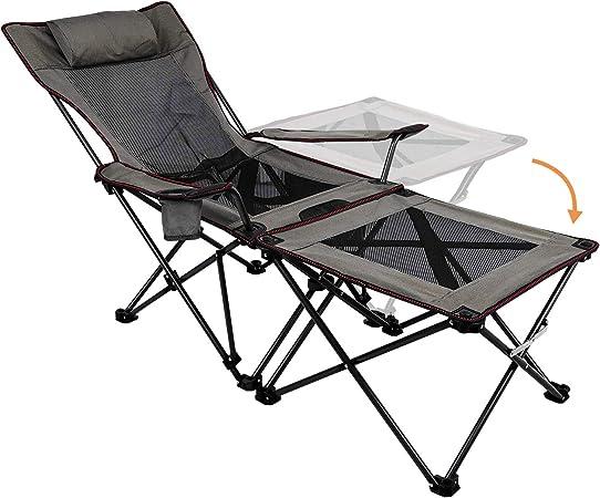 XGEAR Sillas de camping plegables y reclinables portátiles con soporte para tazas, mesa auxiliar desmontable y bolsa de transporte