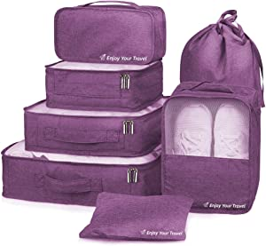 Packing Cubes 7 Pcs Travel Luggage Packing Organizers Set with Laundry Bag (Purple)