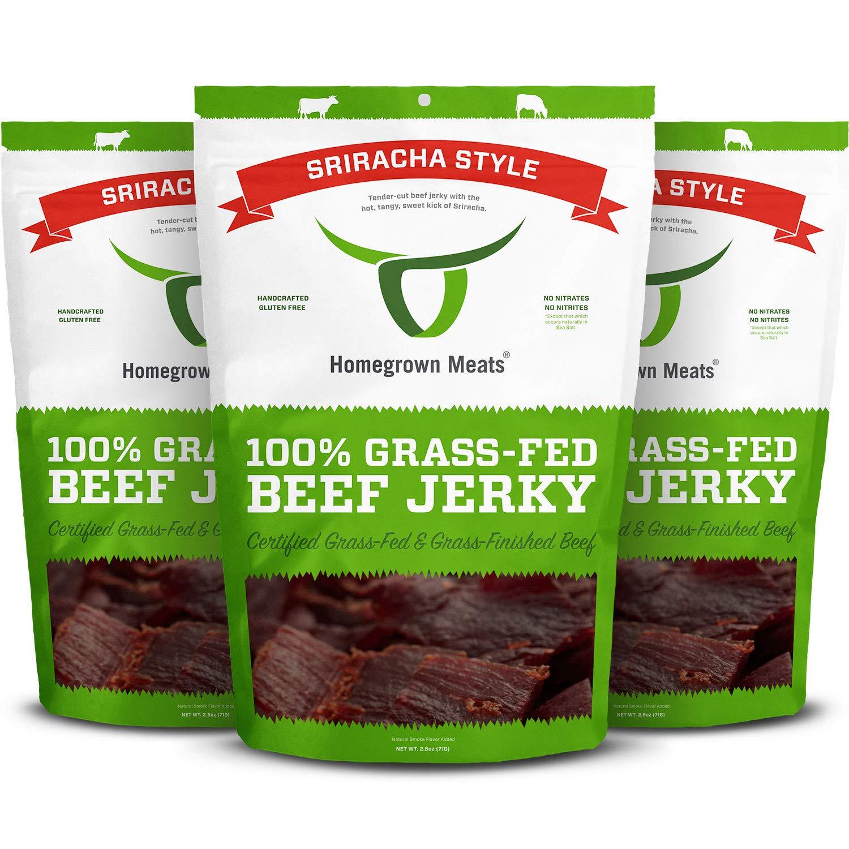 HomeGrown Meats Beef Jerky - Sriracha 100% Grass Fed Gourmet Snacks [3 PK]