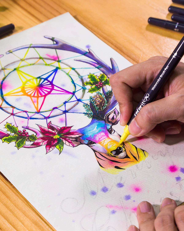 24 Vibrant Colors with Flexible Brush Tip and Bonus Travel Case ColorIt Refillable Watercolor Brush Pens Set