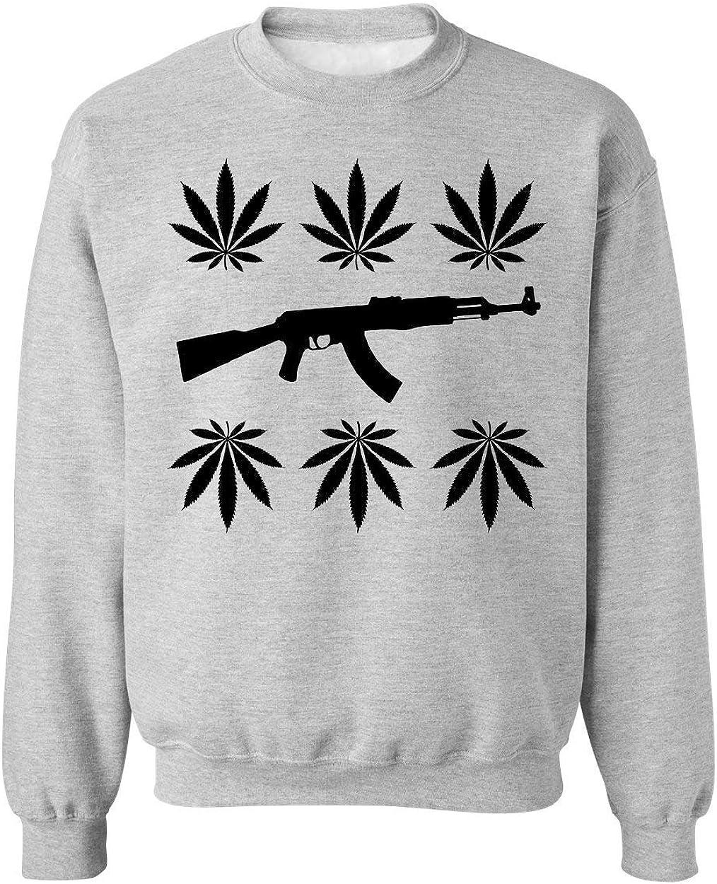 Brenos Design AK-47 Gun Cannabis Weed Marijuana Leaf 420 Unisexo Sudadera Suéter Medium