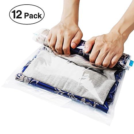 [Paquete de 12]Bolsas de Almacenaje al Vacío para Viajes y Ropa, Mantas, Toallas, Sin Necesidad de Bomba (Transparente)