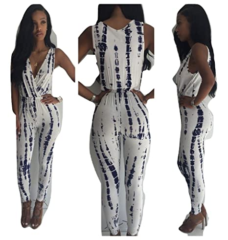 2fb7aa330ba New White   Black Tie Dye Print Sleeveless Wrapped V Neck Jumpsuit Catsuit  Club Wear Party Evening Wear Size S UK 8-10 EU 36-38  Amazon.co.uk  DIY    Tools