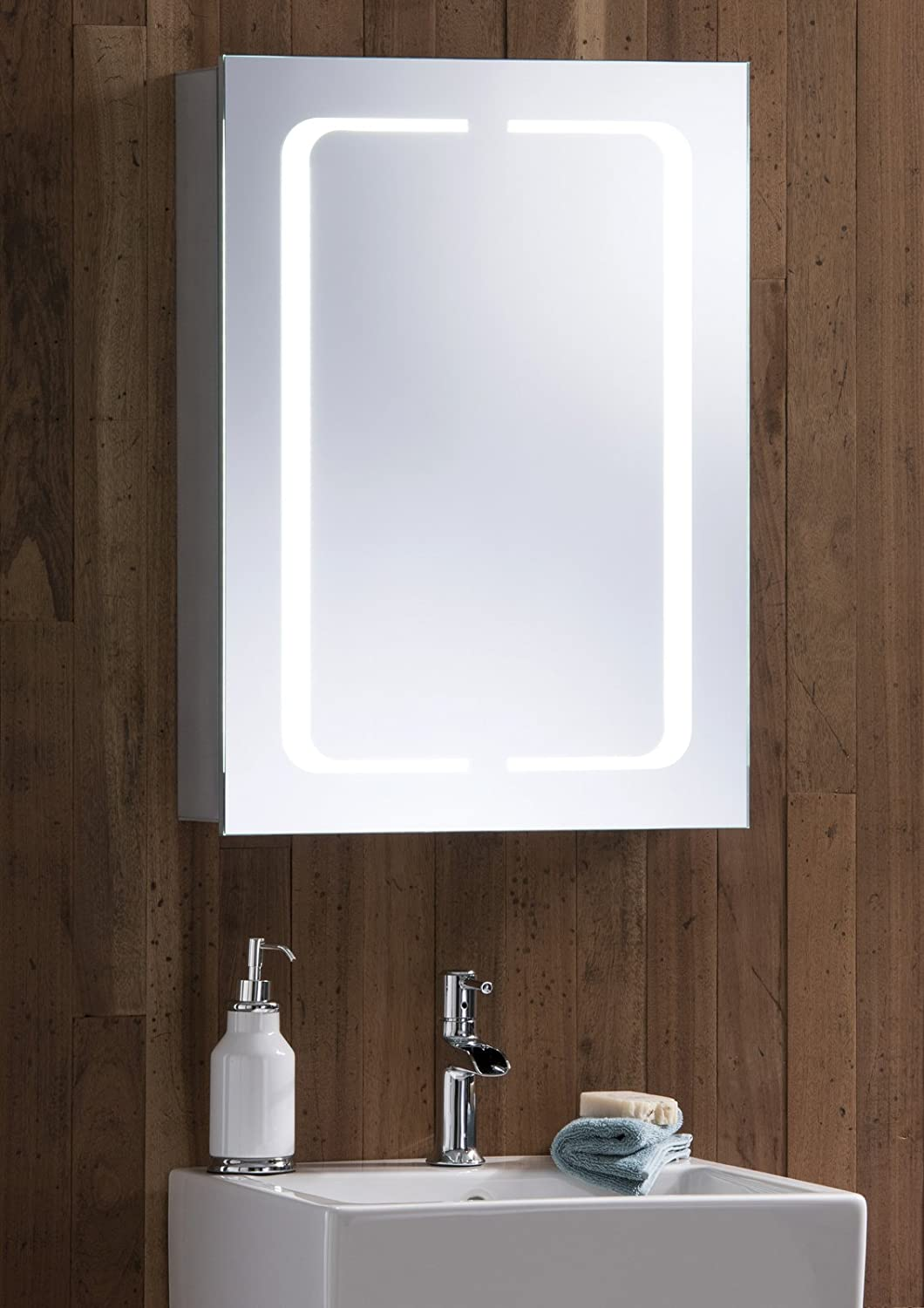 LED Illuminated Bathroom Mirror Cabinet With Demister Heat Pad Shaver And Sensor Switch Lights 70cmH X 50cmW 15cmD