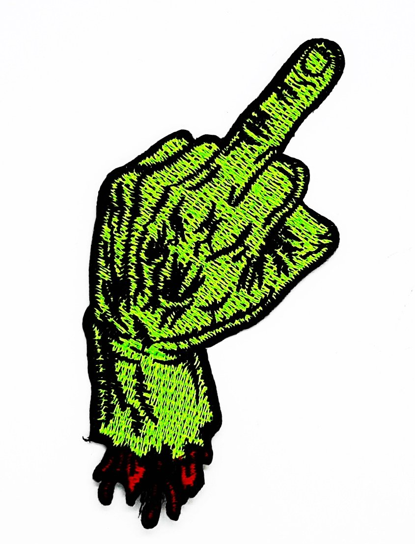 Vert doigt dhonneur /à la main Sign motard Punk Rock Halloween Motocycles Patch Main brod/ée thermocollant et coudre Symbole Veste T-shirt patches Applique Accessoires