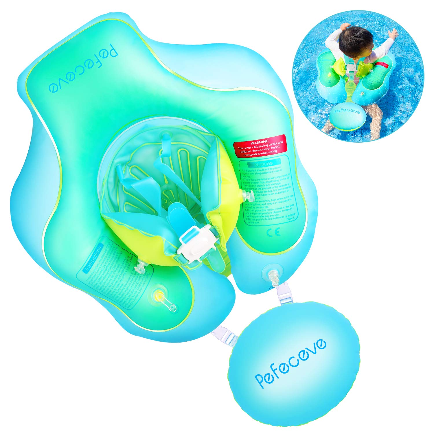 PEFECEVE Baby Inflatable Swimming Pool Float - 2019 Upgrade Safety Approved  Leakproof Infants Toddlers Children Waist Ring Pool Toys Bathtub Swim ...