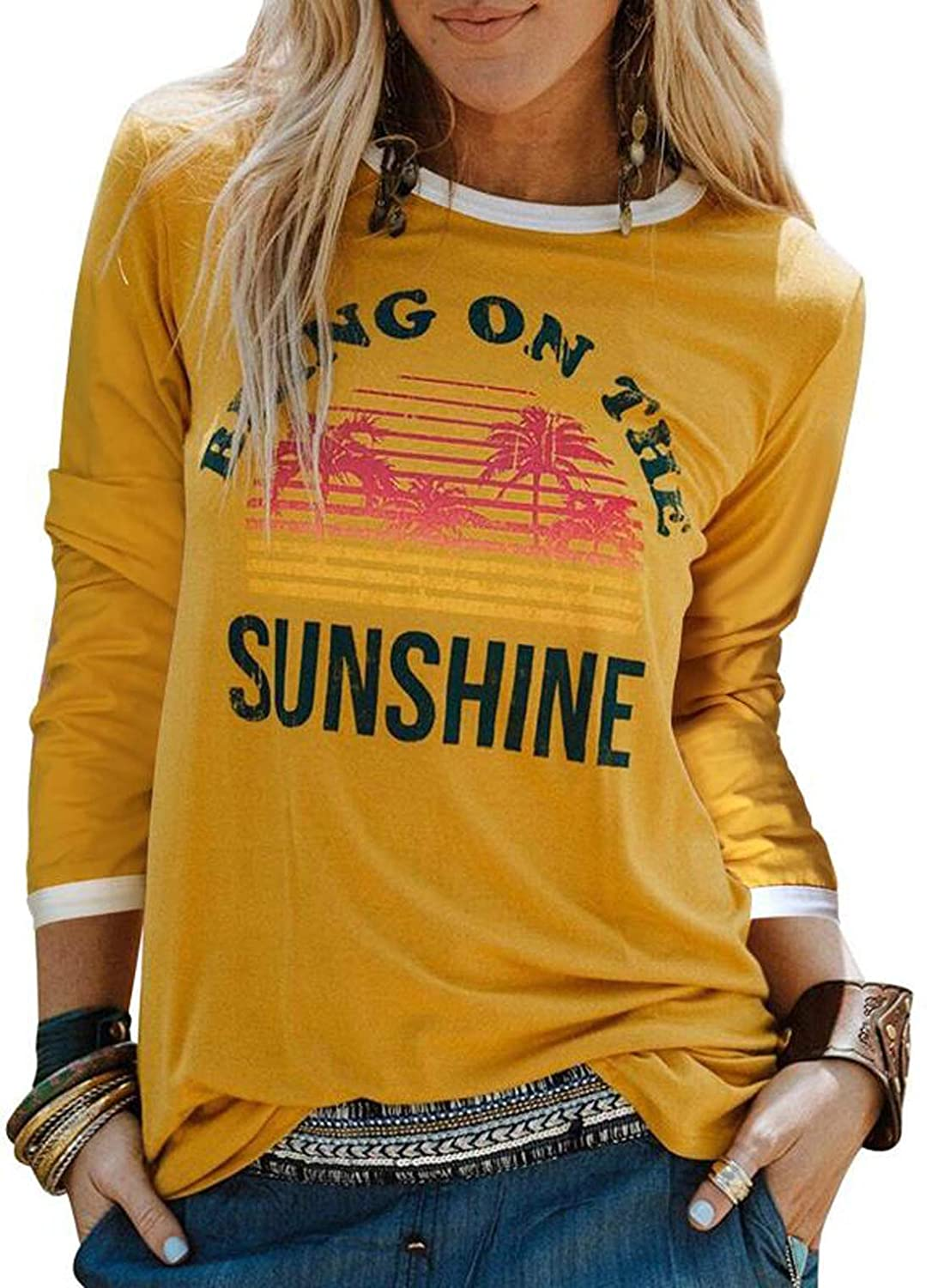 bd25abf9b Amazon.com: Women Graphic T-Shirt Bring On The Sunshine Letters Short  Sleeve Casual Tee Tops: Clothing
