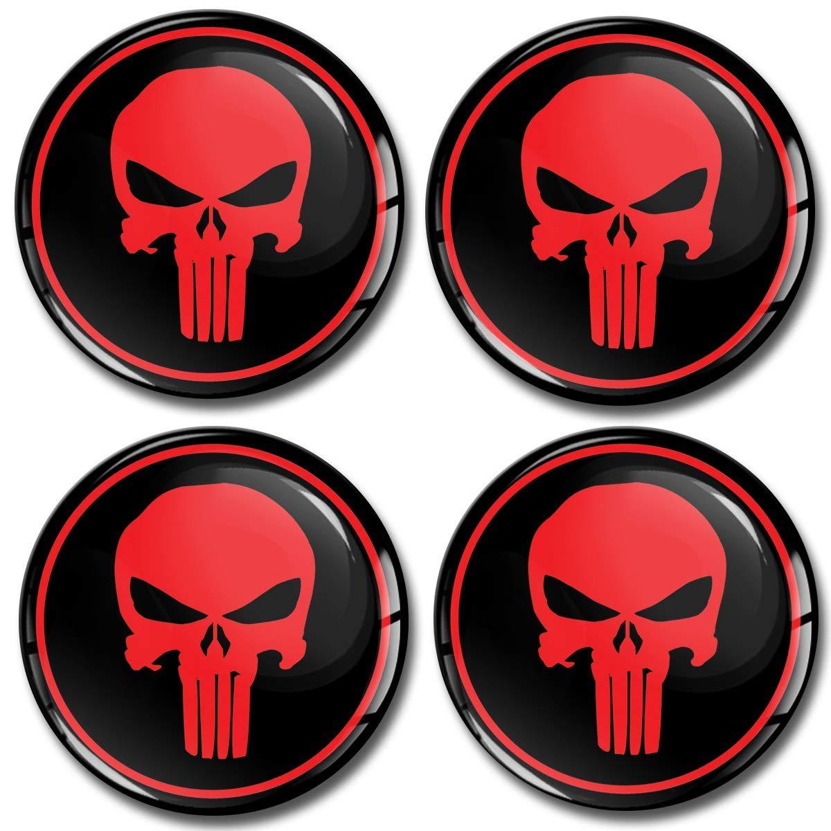 Skino 4 x 60mm Adesivi Resinati 3D Gel Stickers Auto Coprimozzi Logo Silicone Autoadesivo Stemma Adesivo Copricerchi Tappi Ruote Punisher Skull Teschio Rosso A 360