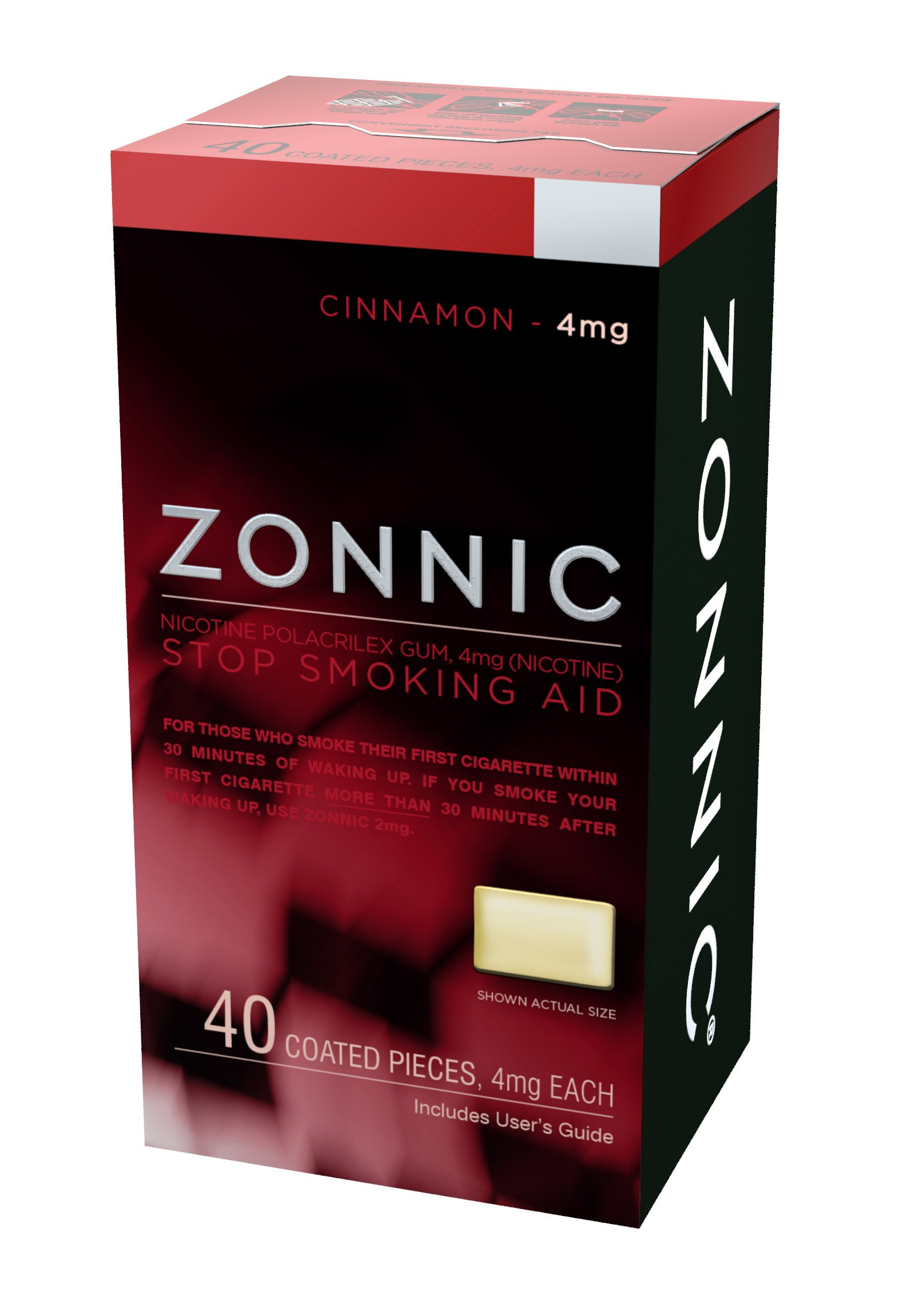 ZONNIC Nicotine Gum 4mg Cinnamon - 40 Count - Quit Smoking Aids, Sugar Free Stop Smoking Gum …