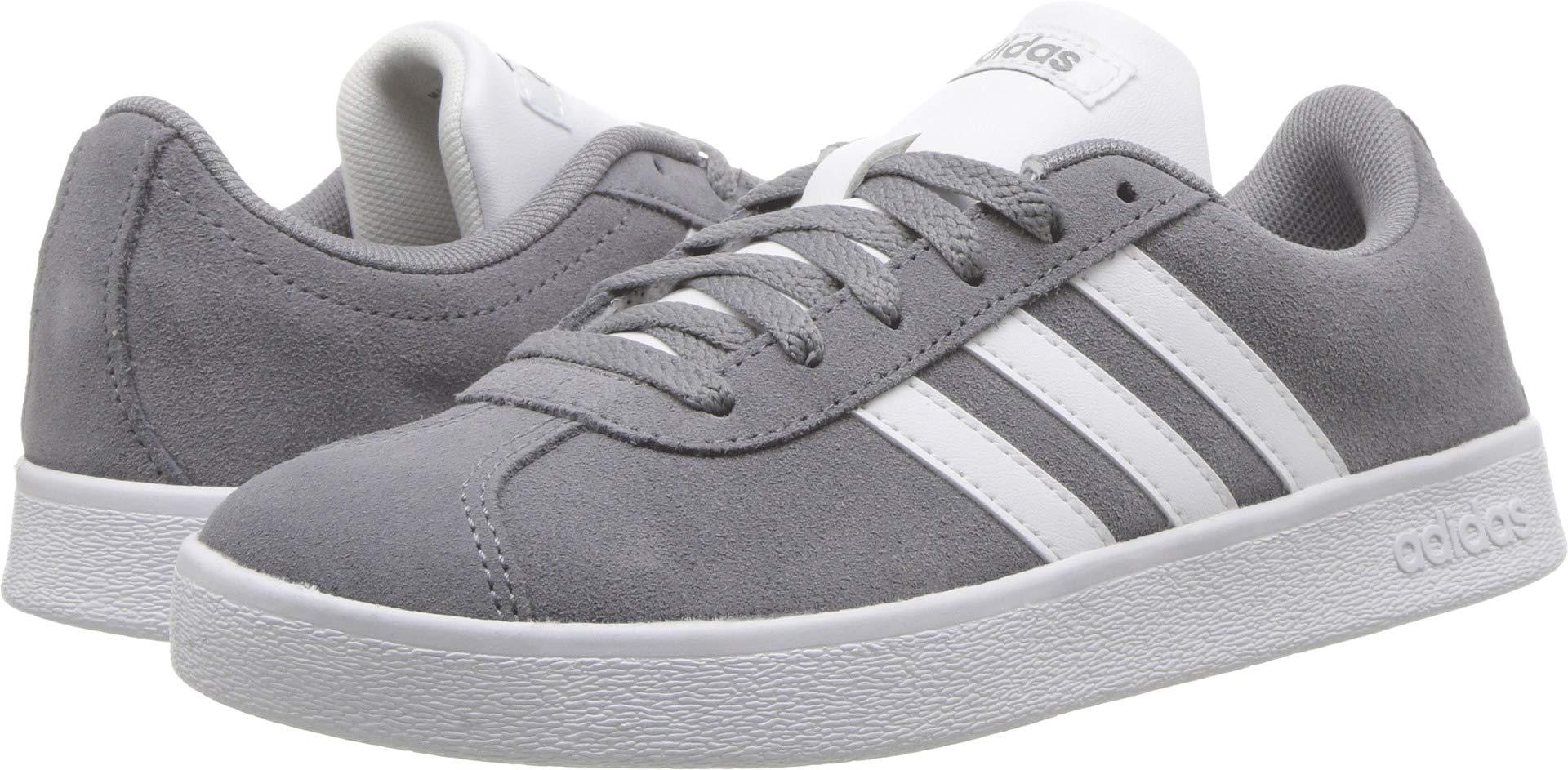 adidas Kids' VL Court 2.0 Sneaker, Grey/White/Grey, 2.5 M US Little Kid