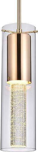 FERWVEW Gold Modern Glass Crystal Pendant Light, Mini Pendant Hanging Crystal Pendant Lighting Fixture, Ceiling Pendant Lamp for Kitchen Island Dining Room Bedroom Restaurant