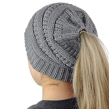 Uworth Tricot Bonnet Queue de Cheval Femme Fille Beanie Bonnet avec Trou  (Gris) 952e5d18ca1