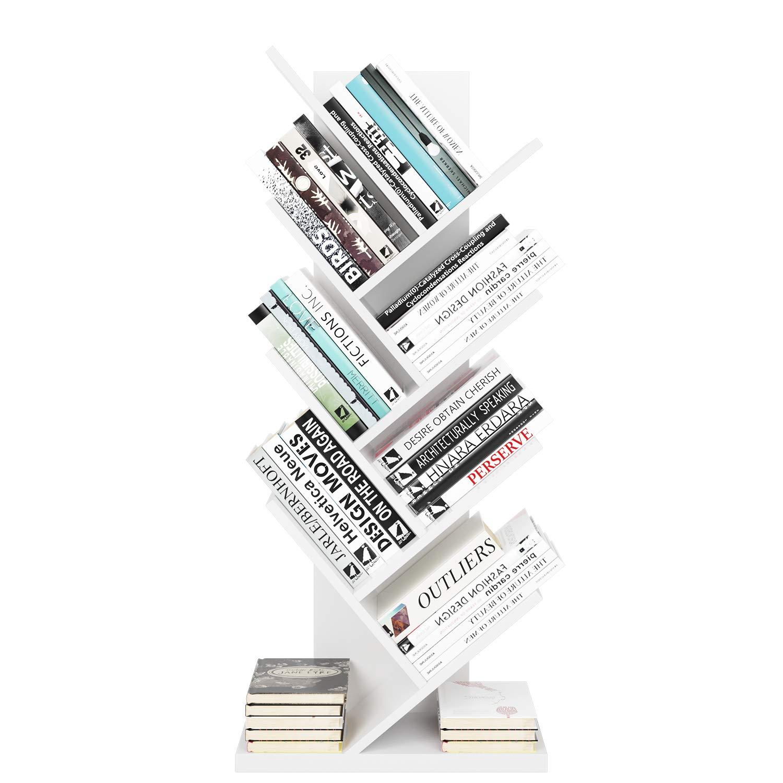 Scaffalatura Albero Decorato per Studio o Ufficio Homfa Mensola Libreria di Legno Scaffale Espositore Porta Libri o CD 48 x 23.5 x 115.8 cm