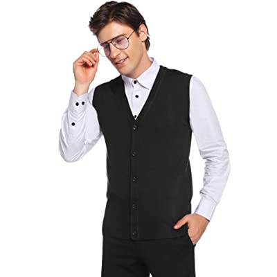 Aibrou Men's V-Neck Button Front Knit Sweater Vest Regular Fit at Amazon Men's Clothing store
