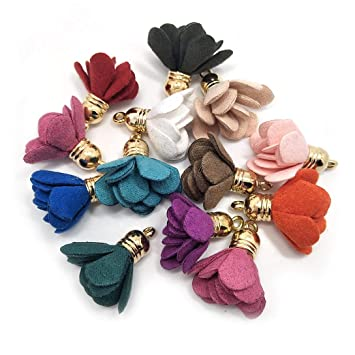 Fashion 50pcs Chiffon Flower Fabric Petal Tassel for Necklace Earnings Key Chain