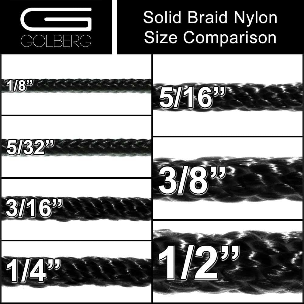 Golberg Solid Braid Black Nylon Rope 3//16 Inch x 50 Foot Hank