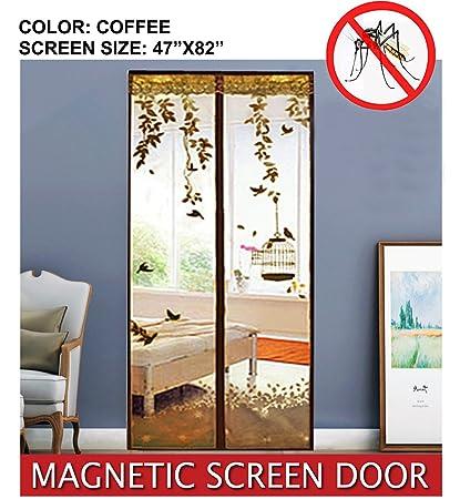 ESOW Magnetic Screen Door Sewn In Heavy Duty Mesh Screen Full Frame Velcro  Unique Fancy