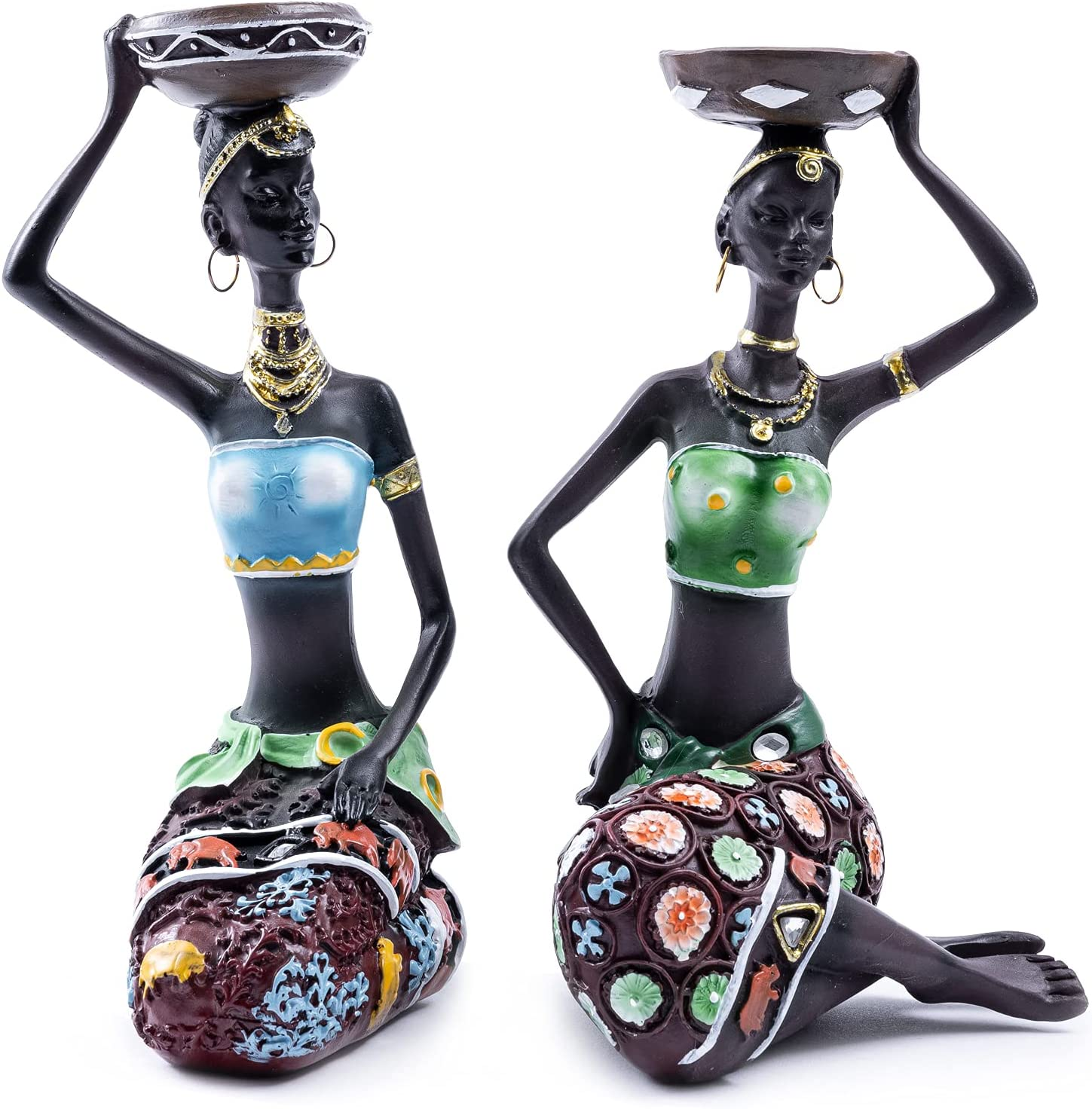 Galiyen African Figurines Statues Sculptures Women Candle Holder Figure Decorations Home Art Decor Centerpiece for Dining Living Room Table Tribal Vintage American Black Statue