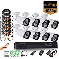 XBW 8Channel CCTV security Kit 1080P/2.0MP 1920X1080 Camera 8CH Surveillance DVR kit with 8pcs 2.0mp 1080P Metal Outdoor Bullet Camera Alarm System&P2P Home Security(Not HDD)
