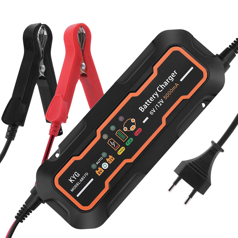 KYG Autobatterie Ladegerä t Vollautomatisches Batterieladegerä t fü r Auto und Motorrad ladegerä t 6/12V 5A Lon' s Home Basic