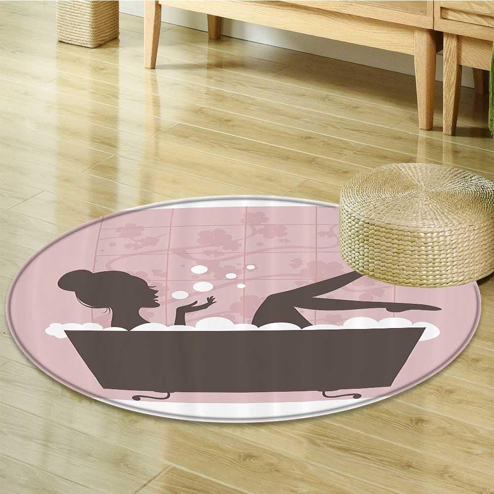 Nalahomeqq Teen Girl Women Decor Beautiful Woman in Bath Tub Spa Relaxation Treatment Concept Vintage Style Fabric Room Circle carpet non-slip Powder Pink Dark Taupe-Diameter 90cm(36'')