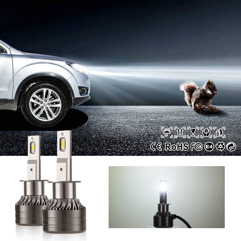 2 Packs Kairiyard H1 LED Headlight Bulbs 6000K Cool White HI Beam 55W 9000 Lumens Fog Lamp Light Bulb Extremely Bright DOB Chips 360/° Rotation Bi-Xenon All-in-One Conversion Kit