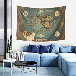 Avatar The Last Airbender Map Tapestry Wall Tapestry Hanging Fabric Backdrop Blanket Home Decor for Living Room Bedroom College Dorm 60x40 Inches