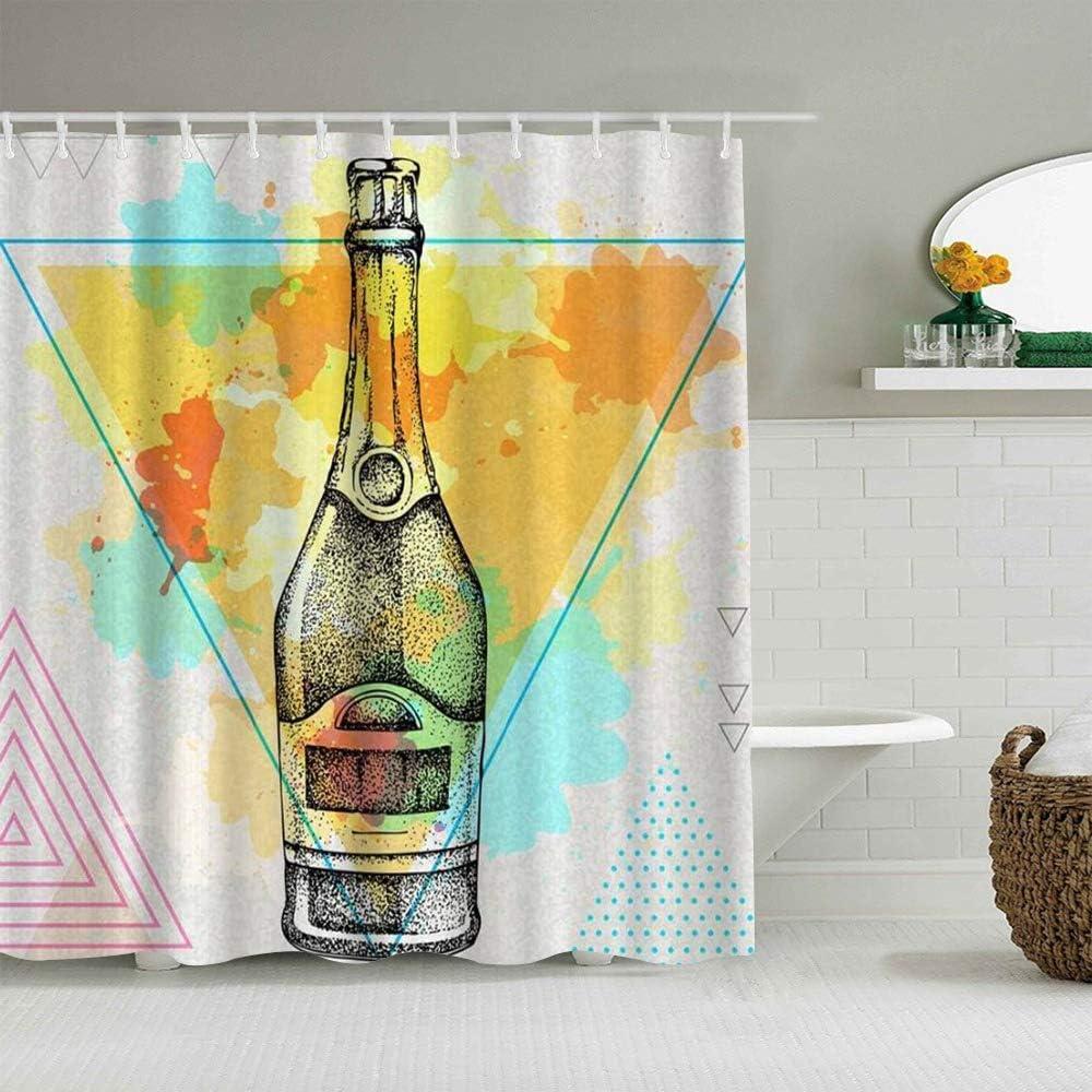 MANISENG Cortina de baño de Tela de poliéster,Botella Champagne Dibujo Mano Polígono Artístico Acuarela Triángulo Puntos,con 12 Ganchos de plástico Cortinas de baño Decorativas 72x72 Pulgadas