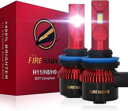 Firehawk 2021 New H11/H8/H9 LED Headlight bulbs, 15000LM Japanese CSP, 400% Brightness, 200% Night Visibility, 6000K Cool White, Pack of 2
