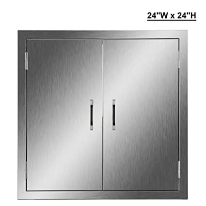 CO Z Outdoor Kitchen Doors, 304 Brushed Stainless Steel Double BBQ Access  Doors For