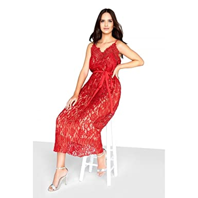 18eff7ba949 Little Mistress Womens Ladies Lace Cami Dress (14 UK) (Cayenne Red)   Amazon.co.uk  Clothing