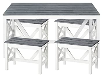 5 Tlg Esstischgarnitur Texel Tisch Mit 4 Hockern Aus Akazien Holz In