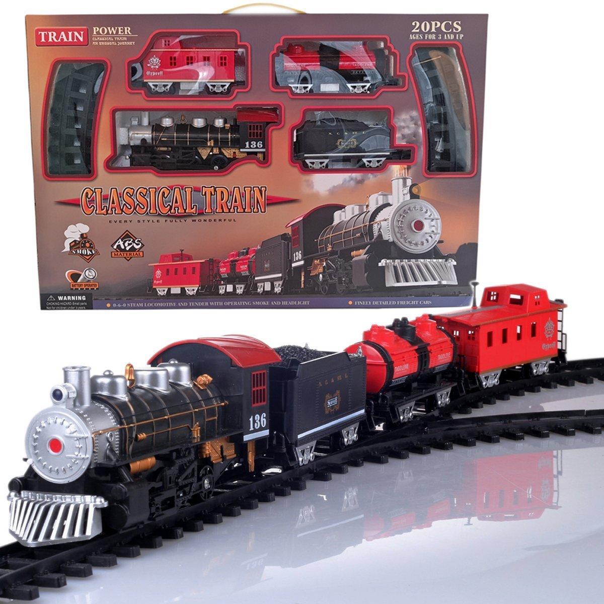 Bowen Toy Train Set, Classical Electric Train Set Steam Smoking Simulation Sound Train for Kids