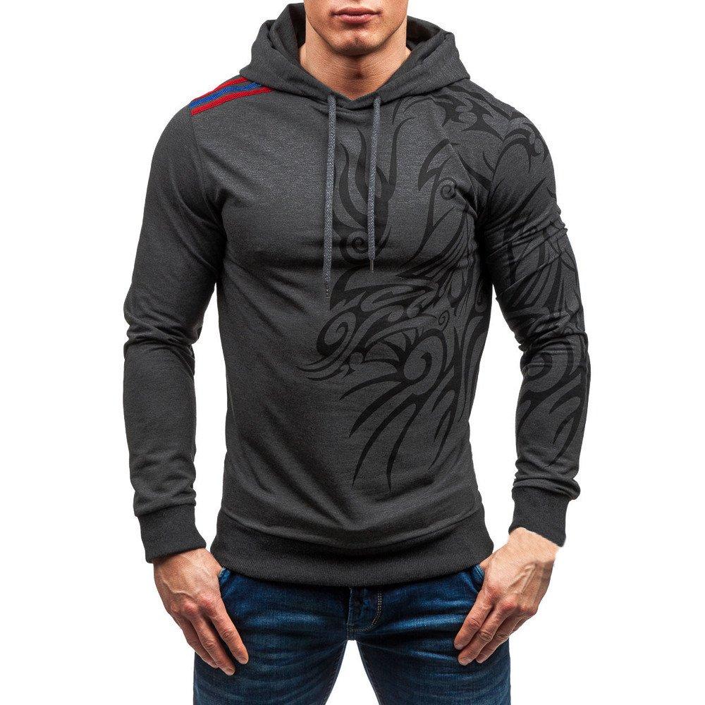 Sweatshirt For Men,Clearance Sale-Farjing Men's Autumn Winter Printed Long Sleeve Hooded Blouse Tops (3XL,Dark Gray)