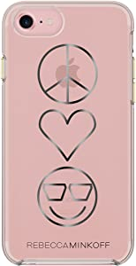 Rebecca Minkoff iPhone 7 Case, Double Up Designer Phone Case fits Apple iPhone 7- Peace, Love, Happiness/Rose Gold/Black Foil