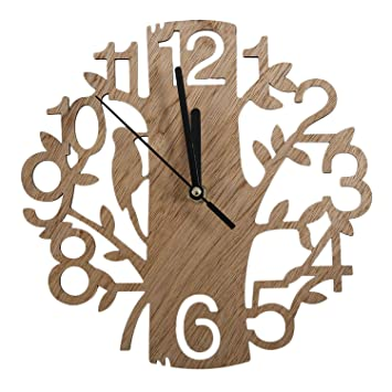 Modern Chic Vintage Design Stille Digital Woodpecker Holz Wanduhr